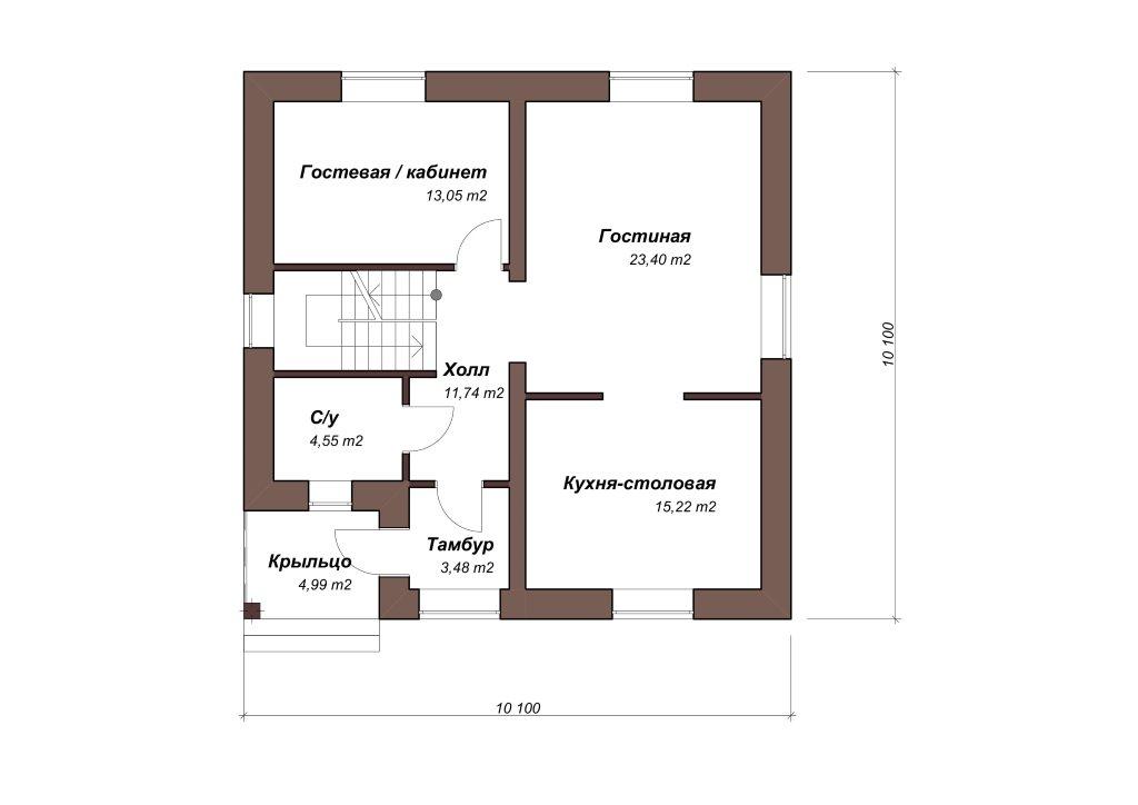 Проект дома из газобетона 10х10 с мансардой 129 кв. м - планировка фото 1