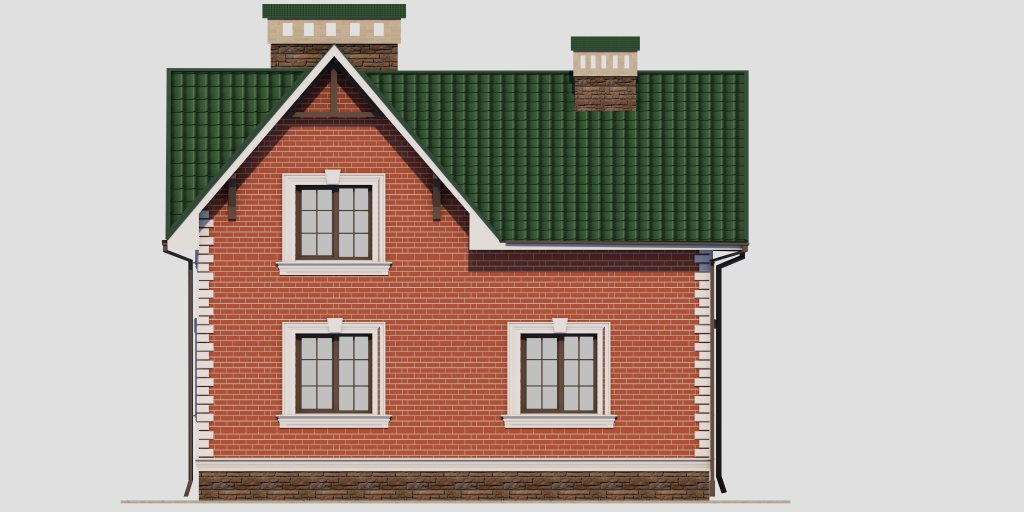 Проект дома из газобетона 10х10 с мансардой 129 кв. м - фасад фото 1
