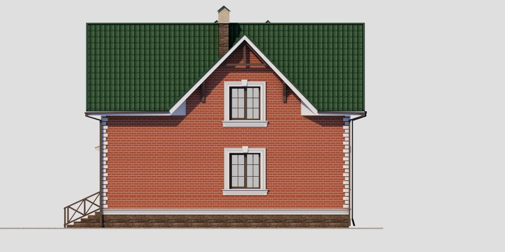 Проект дома из газобетона 10х10 с мансардой 129 кв. м - фасад фото 2