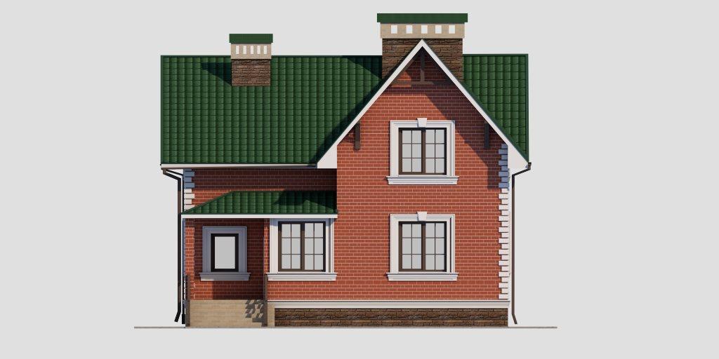 Проект дома из газобетона 10х10 с мансардой 129 кв. м - фасад фото 3