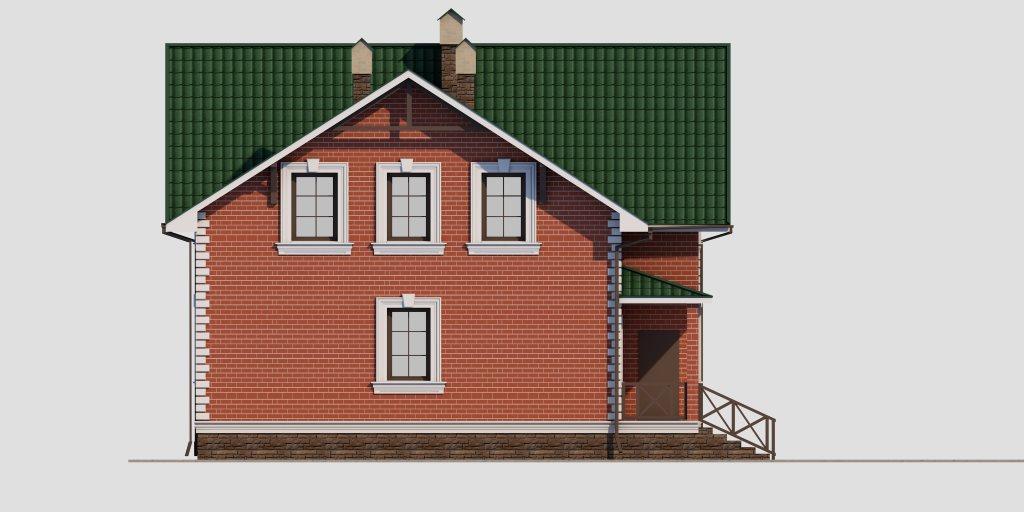 Проект дома из газобетона 10х10 с мансардой 129 кв. м - фасад фото 4