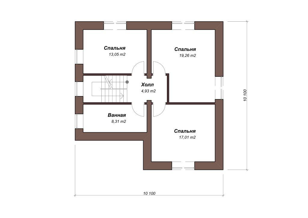 Проект дома из газобетона 10х10 с мансардой 129 кв. м - планировка фото 2