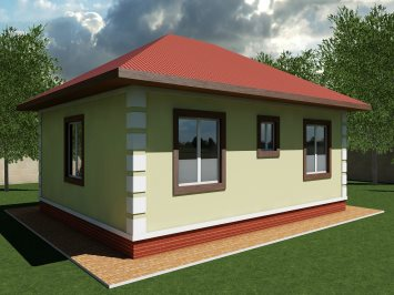 Проект одноэтажного дома из арболита А-55