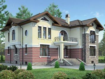 Проект дома из арболита с цокольным этажом А-441